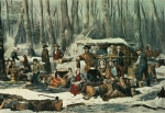 Snow Scene Paintings - American Forest Scene by Currier and Ives