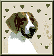 Puppies Digital Art Posters - American Fox Hound Poster by One Rude Dawg Orcutt