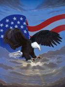 American Flag Painting Originals - American Freedom by Ross Edwards