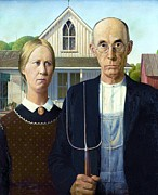 Pd Framed Prints - American Gothic Framed Print by Pg Reproductions