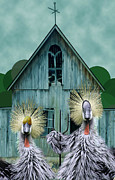 Chicken Digital Art Posters - American Gothic Revisisted  Poster by Lois Mountz