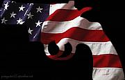 Flag Photo Posters - American Gun Poster by Gerard Yates