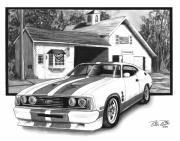 American Cars Drawings Posters - American Heartland Poster by Peter Piatt