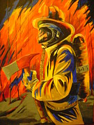 Fireman Paintings - American Hero by Barbara Sudik