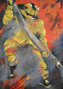 Volunteer Fireman Paintings - American Hero II by Barbara Sudik