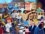 Obama Paintings - American History Katrina Financial Meltdown by Leonardo Ruggieri