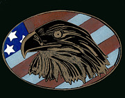 American Eagle Glass Art - American Independence Day by Jim Ross
