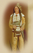 Brown Head Sculpture Prints - American Indian Carving Print by Linda Phelps