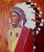 Cowboys And Indians Painting Framed Prints - American Indian Chief 1900 Framed Print by David Lambertino