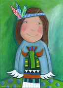 Nursery Room Pictures Paintings - American Indian by Sonja Mengkowski