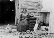 1900s Portraits Photos - American Indian Woman Making A Basket by Everett