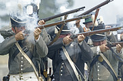 Firing Line Framed Prints - American Infantry Firing Framed Print by JT Lewis