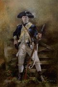 War Of Independance Painting Framed Prints - American Infantryman c.1777 Framed Print by Chris Collingwood