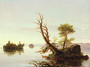 Landscape. Mountain Trees Water Bush Art - American Lake Scene by Thomas Cole
