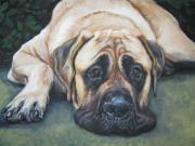 Mastiff Dog Paintings - American Mastiff by L A Shepard