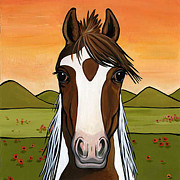 Show Horse Paintings - American National Show Horse by Leanne Wilkes