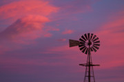 Sunset Greeting Cards Prints - American Old Farm Water Pumping Windmill with a Sunset  Print by James Bo Insogna