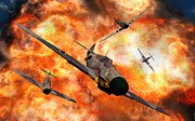 Blowing Up Framed Prints - American P-51 Mustangs Involved Framed Print by Mark Stevenson