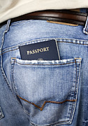 Gold Belt Prints - American passport in back pocket Print by Blink Images
