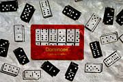 Games Mixed Media Prints - American Passtime Dominoes Print by Angelina Vick