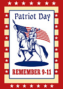 Cavalry Digital Art - American Patriot Day Remember 911  Poster Greeting Card by Aloysius Patrimonio