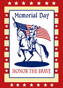 Cavalry Digital Art - American Patriot Memorial Day Poster Greeting Card by Aloysius Patrimonio