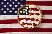 Red Strawberries Framed Prints - American pie on American flagAmerican pie on American flagAmer Framed Print by Garry Gay