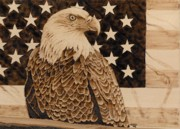 Flag Pyrography - American Pride by Nedra  Denison