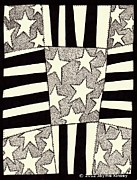 Stars And Stripes Drawings - American Quilt by Jayme Kinsey