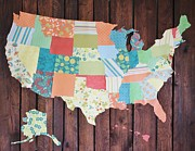 Us Map Mixed Media - American Quilt by Nadine Makos