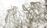 French Revolution Prints - American Revolution Battle Sketch Print by Randy Steele