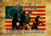Fourth Of July Metal Prints - American revolution soldier marching Metal Print by Aloysius Patrimonio