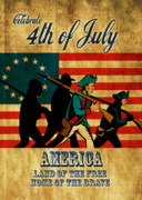 July Digital Art Posters - American revolution soldier vintage Poster by Aloysius Patrimonio