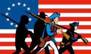 Army Posters - American revolutionary soldier marching Poster by Aloysius Patrimonio