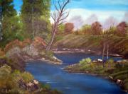 River View Paintings - American River Landscape Painting by Cindi Lane
