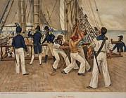 Napoleonic Wars Posters - American Sailors And Officers On Deck Poster by Everett