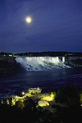 Night Scenes Posters - American Side Of Niagara Falls, Seen Poster by Richard Nowitz