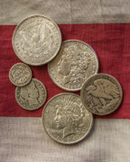 Coin Prints - American Silver Coins Print by Randy Steele