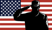 Cap Digital Art Posters - American Soldier salute Poster by Aloysius Patrimonio