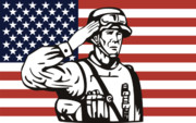 Woodcut Posters - American soldier saluting flag Poster by Aloysius Patrimonio