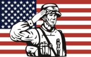 American Soldier Saluting Flag Print by Aloysius Patrimonio