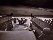 D-day Framed Prints - American Soldiers Wade From Coast Guard Framed Print by Everett