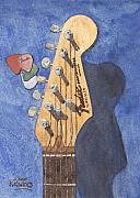 Guitar  Paintings - American Standard by Ken Powers