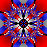 4th July Digital Art Framed Prints - American Starburst Mandala Framed Print by Patricia Fatta