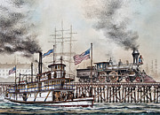 Maritime Greeting Card Painting Originals - American Steam by James Williamson