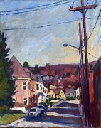 Thor Painting Originals - American Street in Autumn by Thor Wickstrom