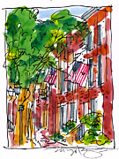 American City Scene Drawings Framed Prints - American Street Philadelphia Framed Print by Marilyn MacGregor