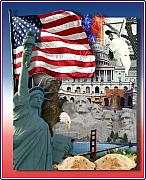 Fireworks Mixed Media Metal Prints - American Symbolicism Metal Print by Gravityx Designs