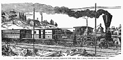 Caboose Framed Prints - AMERICAN TRAIN, 1850s Framed Print by Granger