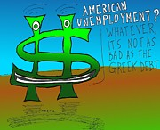 Editorial Cartoon Mixed Media - American Unemployment by OptionsClick BlogArt